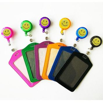 10pcs/lot PU Badge Holder With Retractable Name Reel Holder Clip High Quality School Office Hospital Worker Supplies New