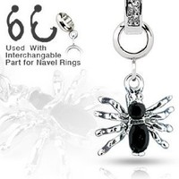 Add-On Gem Paved Black Halloween SPIDER Dangle Charm ONLY for Interchangeable Belly Button / Navel Rings, Dermal Anchors and More - SHIPS FROM USA!