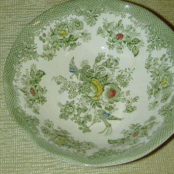 Green Transferware - Tunstall Enoch Wedgwood - Bowl - Soup Bowl - Cereal Bowl -  Roses - Birds -  England - Pattern is Kent
