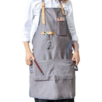 BBQ Creative Senior cotton Apron Bib Leather Straps Kitchen apron for Women Men cooking Restaurant Waitress aprons with pockets