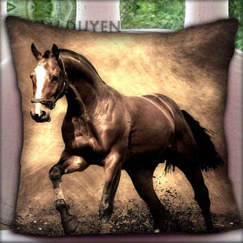 Antique Tone Horse - Pillow Cover Pillow Case and Decorated Pillow.