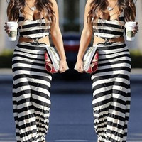 Black and White Striped Cutout Maxi Dress