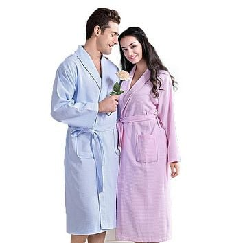 Waffle Cotton bathrobe women nightgown men sleepwear girls home thickening lovers long soft spring summer autumn