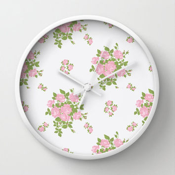 Wall Clock Pink Roses Floral Girly Feminine White Pink Home Decor Wall Decor Made To Order Clock Custom Clock