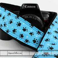 Aqua Paw Prints Camera Strap, dSLR, SLR, Dog, Cat, Pet, 79
