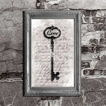 Love is Key - Custom Inspirational - Typography Art Movie Poster