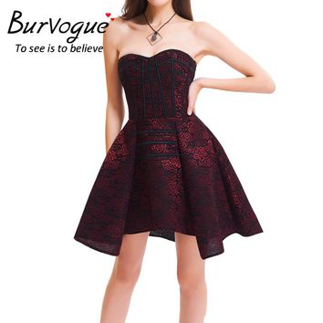 Burvogue Sexy Steampunk Corset Dress Women Evening Waist Control Corsets Cotton Lace Steel Boned Overbust Bustier Gothic Dress