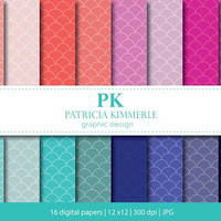 Digital Paper, Mermaid, Scales, Rainbow, Colorful,Scrapbook, Nautical, Backgrounds, Pattern Prints, 16 digital paper pack - INSTANT DOWNLOAD
