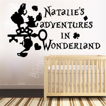 WXDUUZ Wall Decals Custom Personalized Name Alice in Wonderland Sticker Vinyl  living room space Vinyl Wall Sticker B376