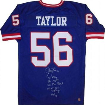 LMFONY Lawrence Taylor Signed Autographed New York Giants Football Jersey w/ Lifetime Stats (ASI COA)