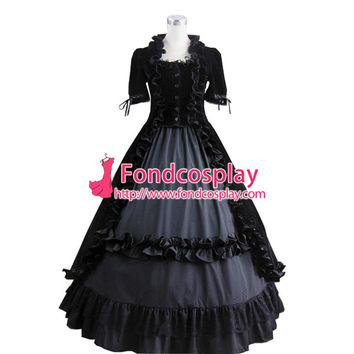 ping Gothic Lolita Punk Medieval Gown Black Velvet Ball Long Evening Dress Jacket Tailor-made Alternative Measures - Brides & Bridesmaids - Wedding, Bridal, Prom, Formal Gown