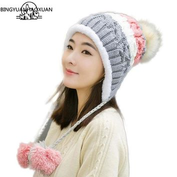 BINGYUANHAOXUAN Stitching knitted Hat for Women Mixed ball Hanging ball Winter Caps for Girls Thick Cotton hats adult hat