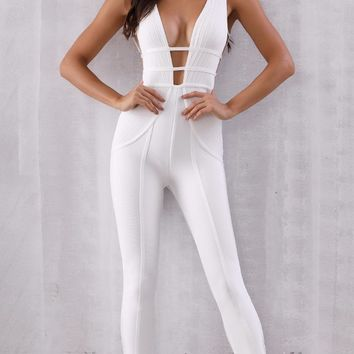 Nights In The City White Sleeveless Plunge V Neck Bandage Skinny Jumpsuit