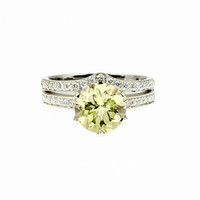 Yellow beryl solitaire engagement ring set, white gold, curved wedding ring, diamond ring set, wedding ring, unique, yellow beryl solitaire