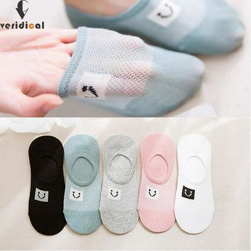 VERIDICAL 5 pairs/lot summer invisible sock woman girl non-slip Smiling face Sock Slippers breathable ankle socks meias mulheres