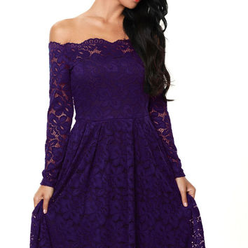 Purple Long Sleeve Floral Lace Boat Neck Cocktail Skater Dress