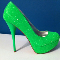 NEON Green Glitter Heels - HOT Summer Color - Sparkle Pumps