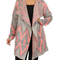 BellaBerry USA Gray & Pink Tribal Open Cardigan - Plus | zulily