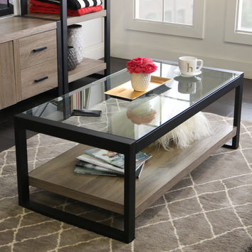 "48"" Urban Blend Coffee Table with Glass Top 