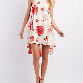 FLORAL PRINT BIB NECK SHIFT DRESS