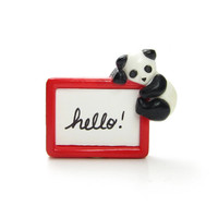 Panda Bear Pin Vintage Avon Message Bear-er Red Picture Frame with Changeable Blackboard
