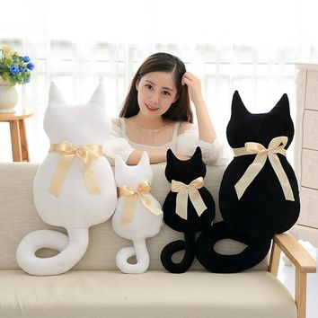Candice guo! new arrival cute plush toy long tail Silhouette cat bowknot back kitty cushion girls birthday Christmas gift 1pc