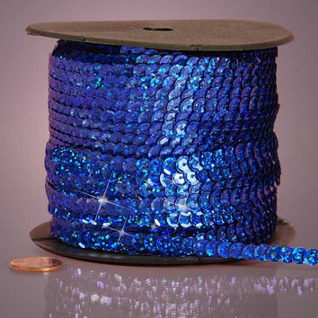 Royal Blue Holographic Faceted Extra Sparkle String 6mm x 80 yards Sequins