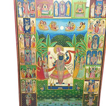 Pichhwai India Traditional Lord Krishna Nathdwara Colorful Painting Wall Panel