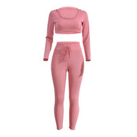 Sweet Pink Cropped Long Sleeve Top Drawstring Pants