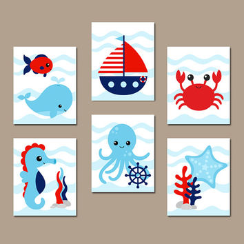 OCEAN Animals Wall Art- CANVAS or Print - Under the Sea Animals - Nautical Bathroom Decor - Nautical Child Bath Art - Set of 6 Pictures