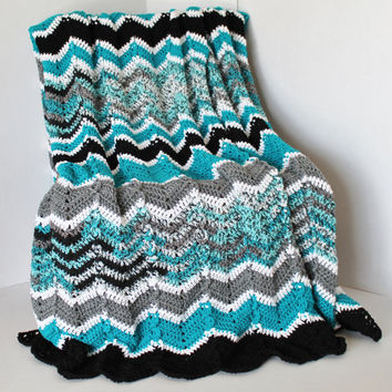 Afghan - Crochet Afghan - Ripple Blanket - Chevron Afghan - Black, Grey, and Teals - Full Size Afghan