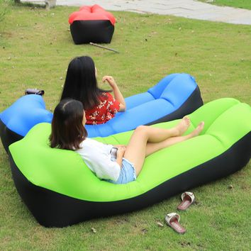 New Outdoor lazy sofa sleeping bag portable folding rapid air inflatable sofa Adults Kids Beach blow-up lilo bed