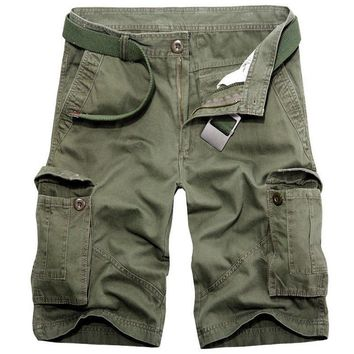 Plus Size 2017 Summer Men Military Casual Shorts 5 Colors Solid Baggy Shorts Multi Big Pockets Cargo Short Pants Beach Loose