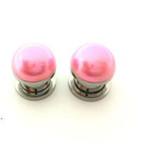 Pink pearl plugs / 2g, 0g, 00g, 1/2 inch / wedding plugs / pearl gauges / bridesmaid jewelry / pink plugs / professional plugs