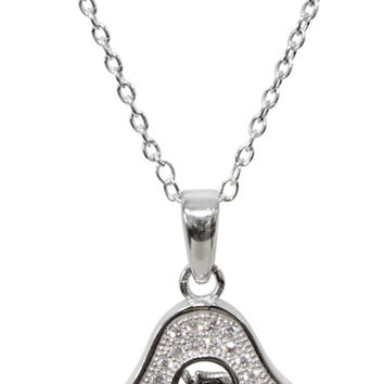 "Silver Hamsa Necklace With Stones - Chain 18"" Pendant 1/2""H X 1/2"" W"