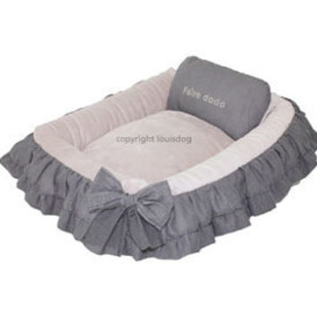 Louis Dog Designer Pet Bed - small and large dog beds, washable puppy bed, pink dog  bed