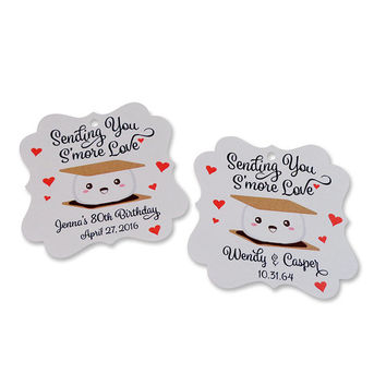 Personalized S'more Wedding Favor Tags Cute Kawaii Smore Gift Tag for Bridal, Baby Shower, Birthday and Any Occasion
