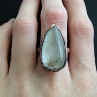 Quartz Ring - Statement Ring - Unique Ring - Raw Stone Ring - Copper Ring - Semiprecious Stone Ring - Large Ring - SIZE 6.5