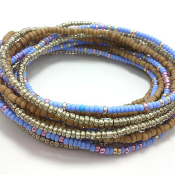 Seed bead wrap stretch bracelets, stacking, beaded, boho anklet, bohemian, stretchy stackable multi strand, silver brown khaki blue pink