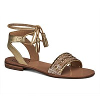 Tate Raffia Sandal in Natural and Gold by Jack Rogers - FINAL SALE