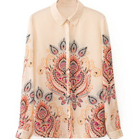 Printed Pointed Flat Collar Long Sleeve Blouse