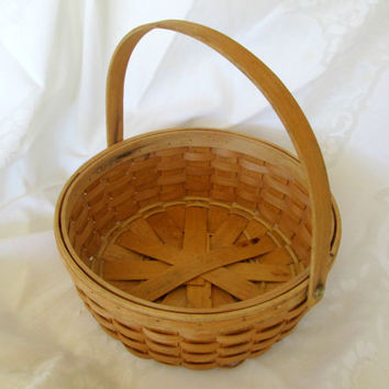 Split Oak Basket Country Decor Handwoven Wood Gathering Basket