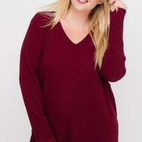 Cozy Red Ribbed Top | Plus