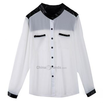 Stylish Stand-Up Collar Long Sleeve Single-Breasted Spliced Color Block Women's Shirt