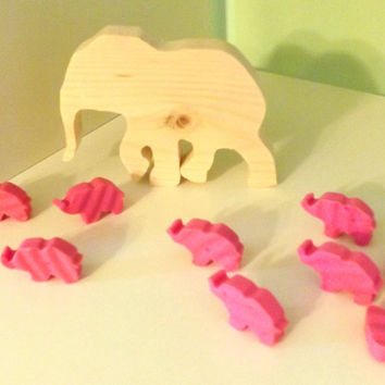100 Pink Elephants for Birthday Parties or Baby Shower Favors; Wooden Elephant Cake Topper
