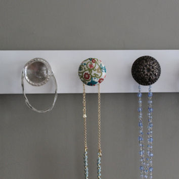 Jewelry organizer for wall, 5 knob necklace holder, hanging jewelry, jewlery organizer, jewlery holder, white, bedroom storage, bathroom