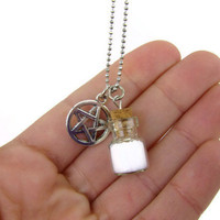 Supernatural Charm Necklace - Protection Necklace - Salt and Devil's Trap Necklace