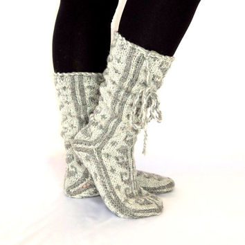 Soft Grey and Grey , Long, Warm Slippers,Handmade Slippers, Mukluk