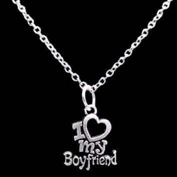 I Love My Boyfriend Gift Girlfriend Anniversary Charm Necklace
