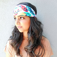 Colorful Feather Print Headband Feather Print Headwrap Hippie Headband Bohemian Hair Accessories